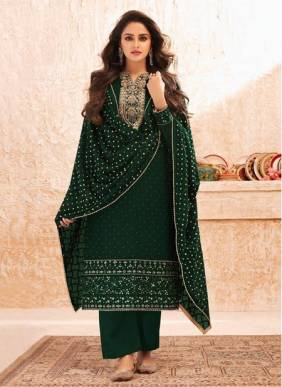 Green Real Georgette Festival Wear Designer Embroidery Work Straight Suit