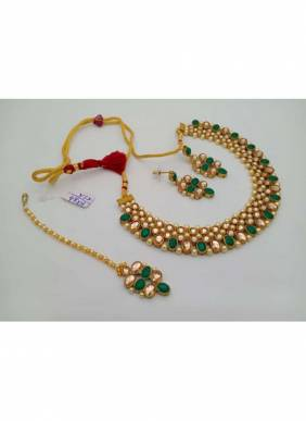 Latest Green Pearls And Kundan Necklace Set