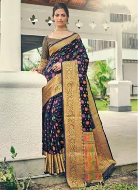 Navy Blue Banarasi Silk Festival Wear Designer Handloom Saree