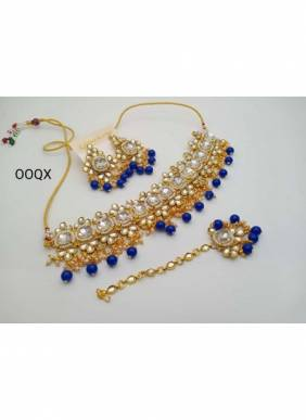 New Blue Pearl And Kundan Necklace Set