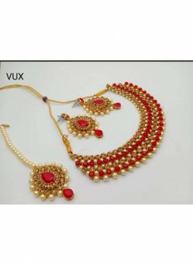 New Red Pearls And Kundan Necklace Set