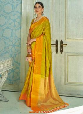 Olive Green Sana Silk Festival Wear Weaving Saree