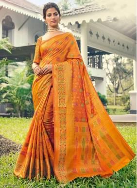 Orange Banarasi Silk Festival Wear Designer Handloom Saree