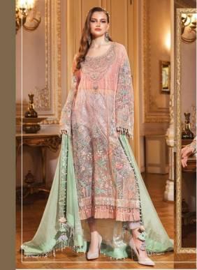 Pink Net Wedding Wear Designer Heavy Embroidery Work Pakistani Suit