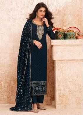 Rama Real Georgette Festival Wear Designer Embroidery Work Straight Suit