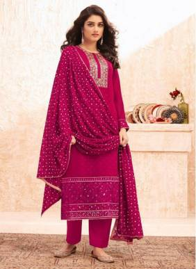 Rani Real Georgette Festival Wear Designer Embroidery Work Straight Suit