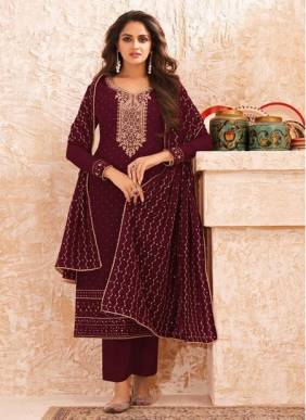 Wine Real Georgette Festival Wear Designer Embroidery Work Straight Suit