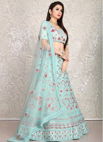 Aqua Blue Net Sangeet Wear Designer Dori Work Lehenga Choli