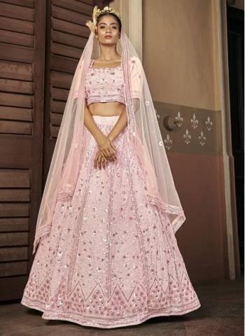 Baby Pink Georgette Bridal Wear Stylish Embroidery Work Lehenga Choli