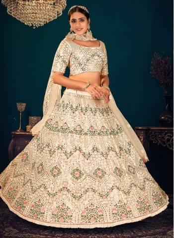 Beige Georgette Reception Wear Thread Work Wedding Lehenga Choli