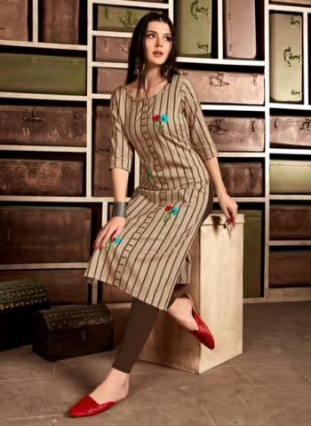 Beige Pure Cotton Casual Wear Hand Work Designer Kurti