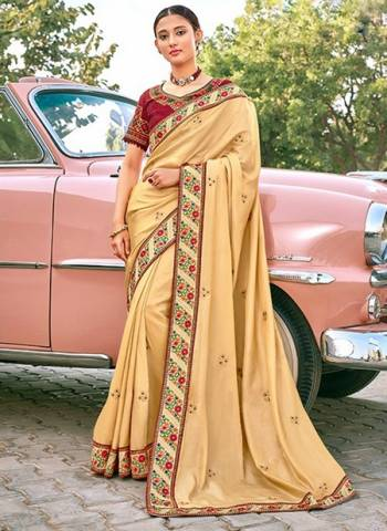 Beige Satin Silk Party Wear Border Work Designer Saree