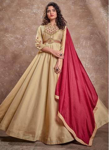 Beige Silk Party Wear Fancy Embroidery Work Gown With Dupatta