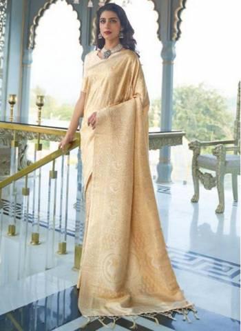 Beige Silk Party Wear Designer Weaving Saree