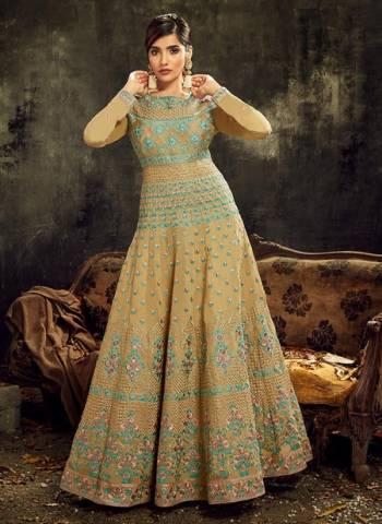 Beige Slub Silk Wedding Wear Embroidery Work Designer Anarkali Suit