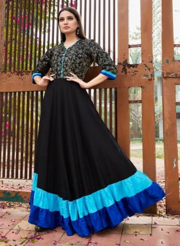 Black Blue Rayon Party Wear Foil Printed Gown
