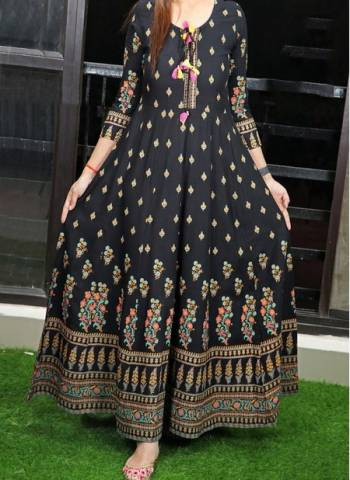 Black Cotton Regular Wear Printed Work Long Gown