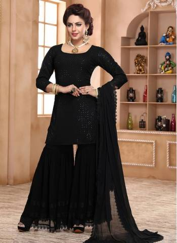 Black Georgette Party Wear Designer Thread Work Readymade Sharara Suit