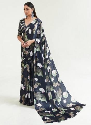 Black Japan Satin Casual Wear Digital Printed Saree