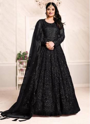 Black Net Party Wear Designer Sequins Work Anarkali Suit