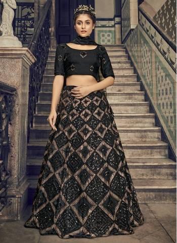 Black Net Wedding Wear Sequins Work Fancy Lehenga Choli