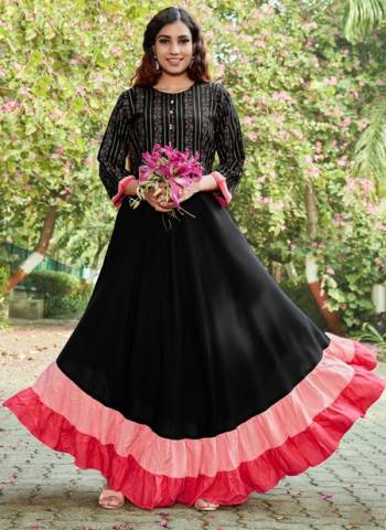 Black Pink Rayon Party Wear Foil Printed Gown