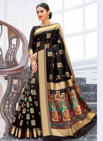 Black Pure Chanderi Cotton Party Wear Weaving Sarees