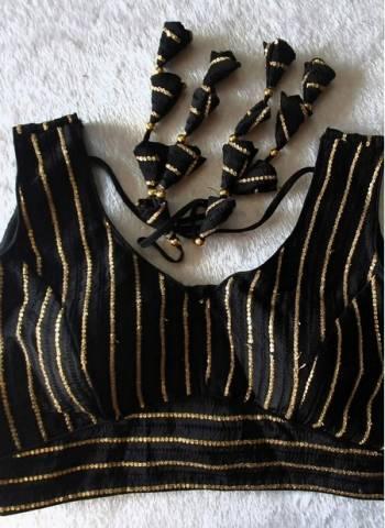 Black Pure Fancy Silk Party Wear Sequins Work Blouse