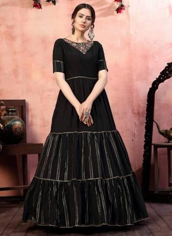 Black Silk Party Wear Zari Weaving Gown