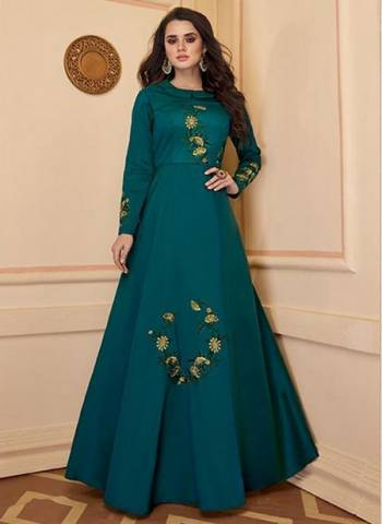 Blue Silk Party Wear Embroidery Work Gown