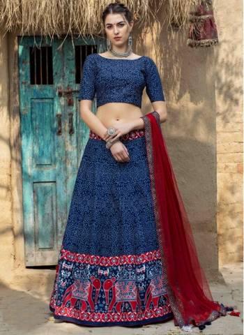 Blue Art Silk Party Wear Designer Printed Work Lehenga Choli