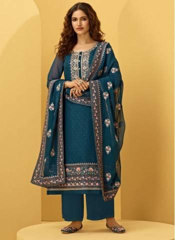 Blue Georgette Wedding Wear Fancy Embroidery Work Palazzo Suit