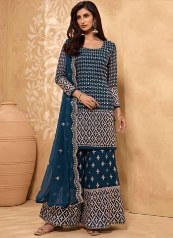 Blue Georgette Party Wear Zari Work Sharara Suit