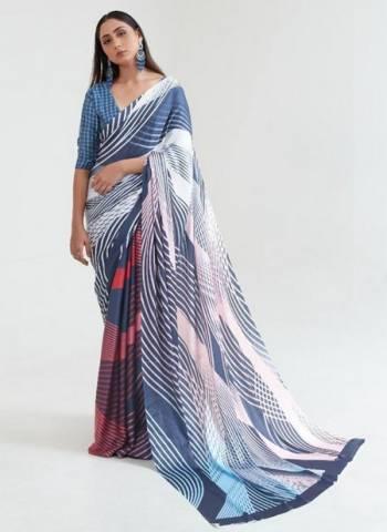 Blue Japan Satin Casual Wear Digital Printed Saree