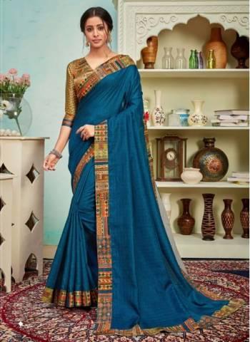 Blue Polyster Silk Party Wear Designer Digital Border Work Saree
