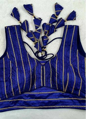 Blue Pure Fancy Silk Party Wear Sequins Work Blouse