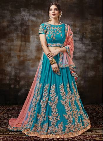 Blue Satin Georgette Wedding Wear Designer Sequins Work Lehenga Choli