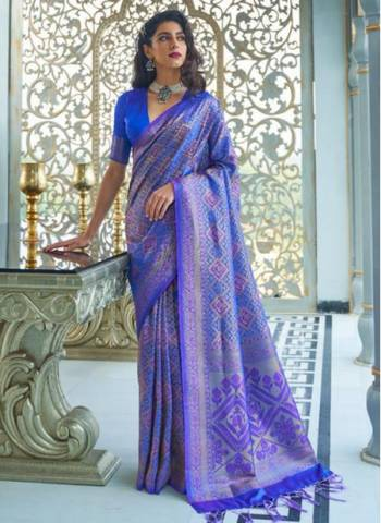 Blue Silk Party Wear Designer Weaving Saree