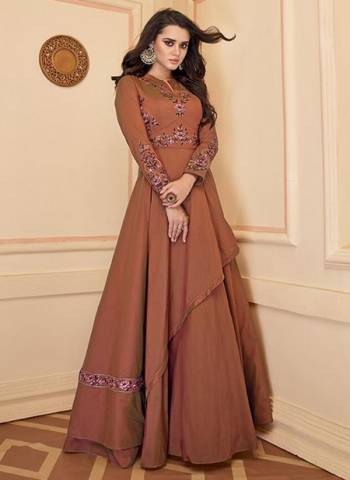 Brown Silk Party Wear Embroidery Work Gown