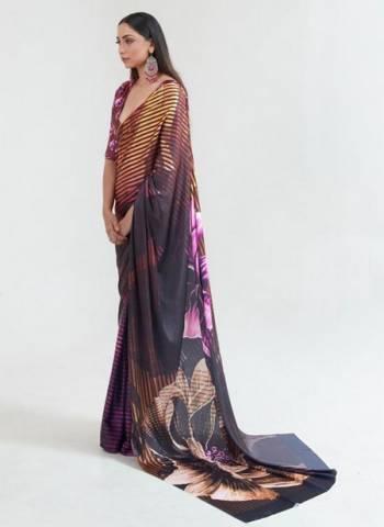 Brown Japan Satin Casual Wear Digital Printed Saree