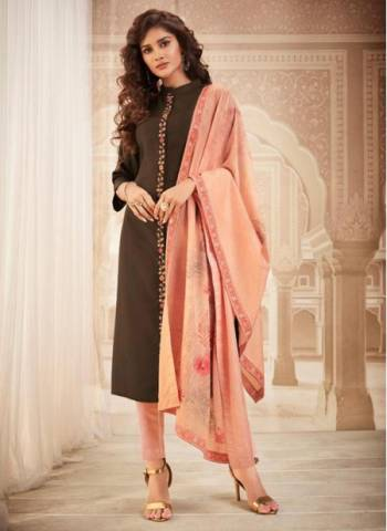 Brown Muslin Casual Wear Designer Embroidery Work Readymade Dress