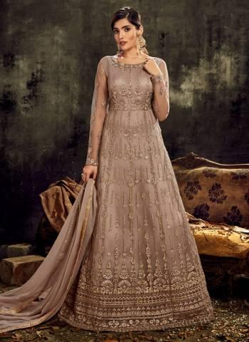 Brown Net Wedding Wear Embroidery Work Designer Anarkali Suit