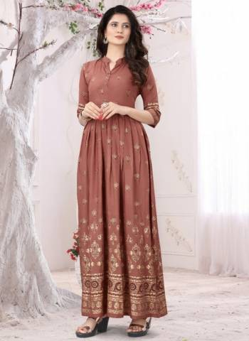 Brown Rayon Casual Wear Foil Printed Long Kurti