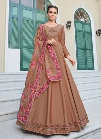Brown Silk Festival Wear Designer Embroidery Work Readymade Anarkali Suit