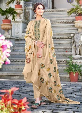 Cream Cotton Silk Party Wear Embroidery Work Palazzo Suit