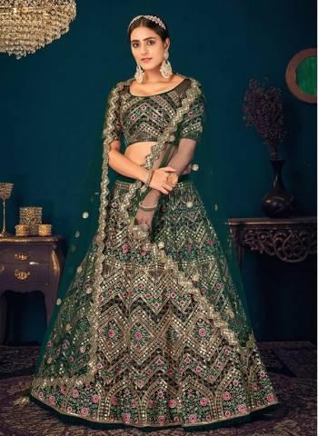 Dark Green Georgette Reception Wear Thread Work Wedding Lehenga Choli