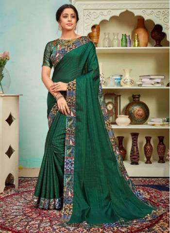 Dark Green Polyster Silk Party Wear Designer Digital Border Work Saree