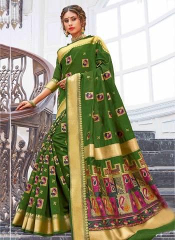 Dark Green Pure Chanderi Cotton Party Wear Weaving Sarees