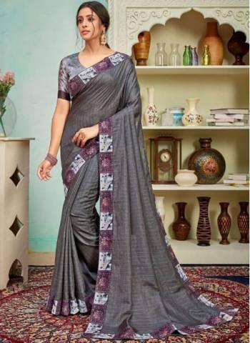 Dark Grey Polyster Silk Party Wear Designer Digital Border Work Saree