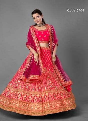 Dark Pink Art Silk Wedding Wear Thread Work Lehenga